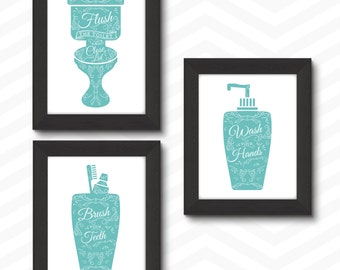 Bathroom Printables, Bathroom Rules, Bathroom Rules Printable, Bathroom  Printable, Bathroom Print Set, Bathroom Decor Turquoise Bathroom Art