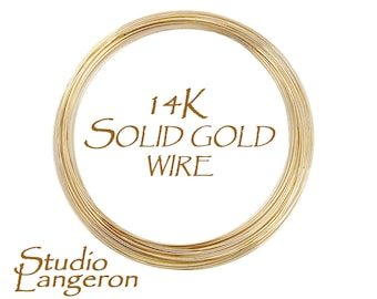 14K solid yellow gold wire 32-15 gauge Half-Hard, Gold wire, Round gold wire, 14K solid gold, Solid gold wire,Gold findings – 4 inch (10 cm)