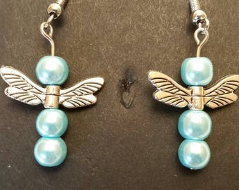 Aquamarine Glass Beads Dragonfly Wings Earrings