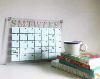 wall calendar // acrylic calendar // dry erase calendar // seafoam mint blue + road map // whiteboard calendar // dorm decor // office