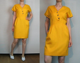 NIPON BOUTIQUE Orange Linen Mini Dress / Vintage 80s 1980s Albert Nipon Orange Dress / Orange Yellow Linen Blend Dress Button Down Dress