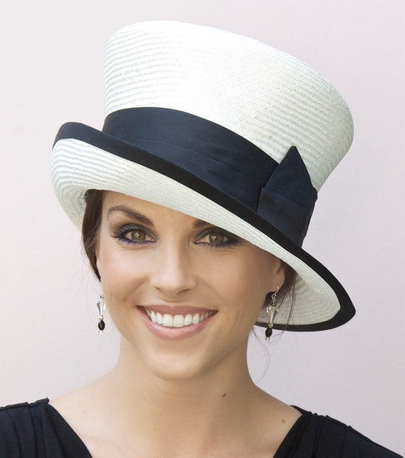 Wedding Hat, Church Hat, Black & White Hat. Derby Hat, Occasion Hat, Formal hat