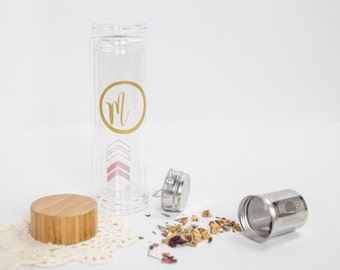 EMBOSS Personalized Wedding Glass Tea Tumbler Bridesmaid's Mother of the Bride Made of Honor