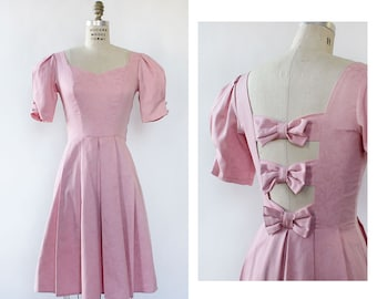 Pink Bow Back Dress XS/S • Laura Ashley Dress • Laura Ashley Vintage • Pink Pleated Dress • Pink 80s Dress • Princess Dress • D1481