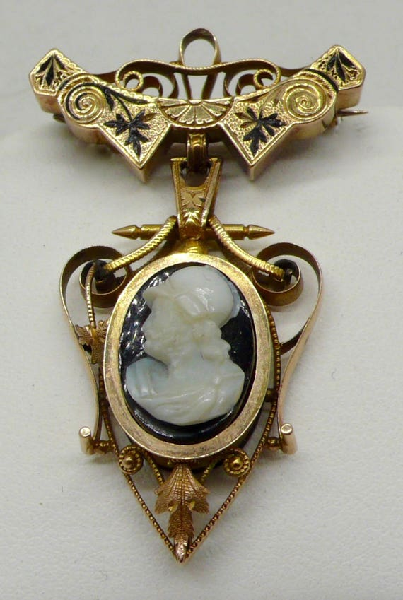 Antique Victorian Solid 14kt Yellow Gold Black Enamel Silhouette Cameo Brooch Pin