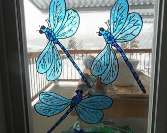 Dragonfly  Stain Glass Window Clings MADE to ORDER
