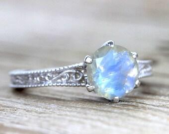 Moonstone Engagement Ring, Moonstone Filigree Ring, White Gold Moonstone Ring, Rainbow Moonstone Vintage Ring, Antique Anniversary Ring Sale