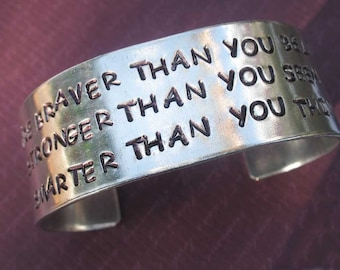 "Braver Than You Believe, Smarter Than You Think... Winnie the Pooh Inspired, Hand Stamped 1"" Extra Wide Aluminum Cuff Bracelet"