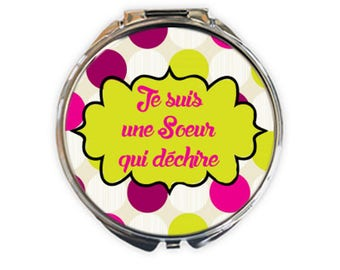 "Pocket mirror silver ""sister who rocks"", image 5cm diameter"