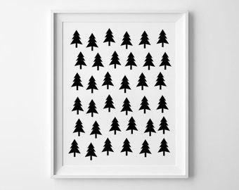 Tree Pattern Print, Nursery Wall Decor, Geometric Poster, Minimalist Kids Room Decor, Black and White