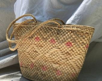 Vintage 70s Straw Shopping Bohemian Tote Summer Bag Southwest Purse Geometric Diamond Market Bag