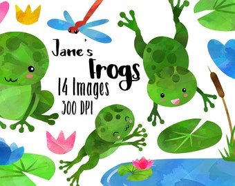 Watercolor Frogs Clipart - Swamp Critters Download - Instant Download - Cute Frogs - Commercial Use - Small Pond