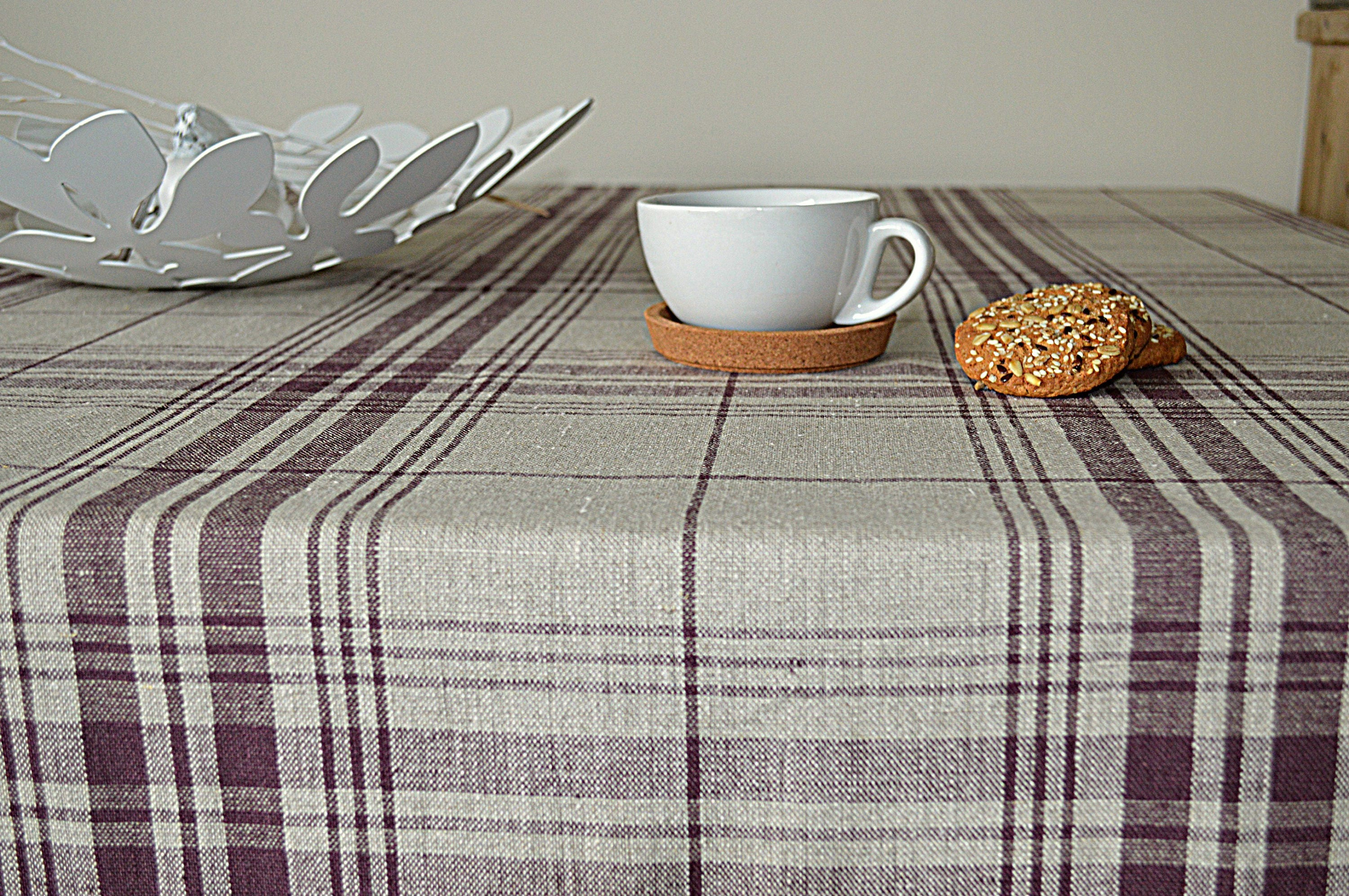 Linen Checkered Tablecloth   Thick Tablecloth With Mitered Corners   Simple  Linen Tablecloth   Rough Softened Linen Tablecloth