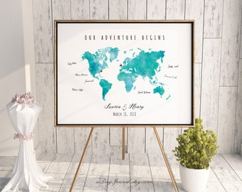 Mint blue world map etsy printable mint green watercolor world map guest book editable pdf template diy personalized large publicscrutiny Images