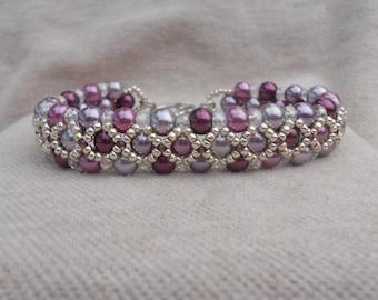 Purple Passion bead woven bracelet