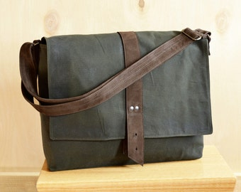 Messenger Bag for Men, Waxed Canvas Bag, Minimalist Laptop Satchel with Pockets, Professional Work Computer Bag - The Sloane in Hunter Green