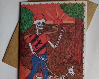 Skeleton Greeting Card Day of the Dead Dogs Walking Outdoors Sunshine Trees Mexican Folk Art