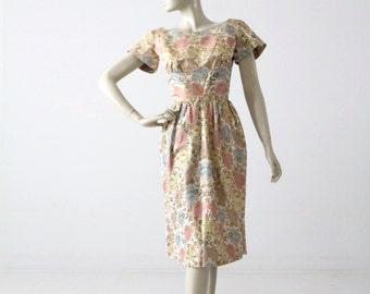 vintage 1940s Mollie Parnis dress, floral brocade designer dress
