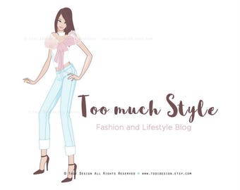 Too much Style Character Illustrated Premade Logo design- Fashion and Lifestyle Blog- Fashion BLOGGER