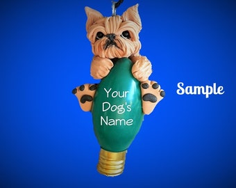 Tan Cropped Ears Brussels Griffon Dog Christmas Light Bulb Ornament Sally's Bits of Clay PERSONALIZED FREE with dog's name