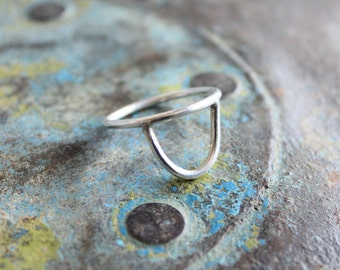 half moon sterling silver ring half circle made by hand