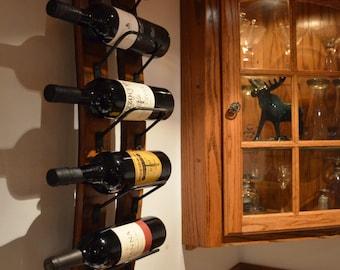 Rustic Wine rack made from reclaimed wine barrels, Wall Wine Rack