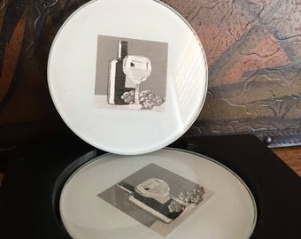 Set of Four Glass Coasters with a Wine Still Life Picture in a Wooden Holder