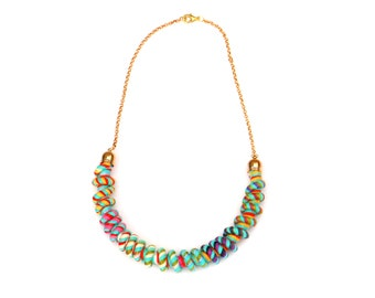 Curled Colorful Textile Necklace For Women, Unique Jewelry For Her, Fabric Rope Statement Necklace