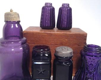 Salt lot, Vintage Purple Glassware, Antique salt, pepper, lot of 6, dug, top, shaker, free shipping