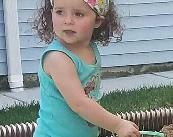 Pastel headscarf, girl bandana, child wide headband, non slip hair wrap, fabric head scarf, summer beach pool, boy bandana, cotton fabric
