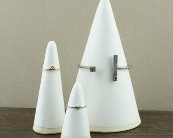 Set of Bracelet and Ring Cones - Jewelry Display Holders - Hand Made Stoneware Ceramic - Satin Matte White