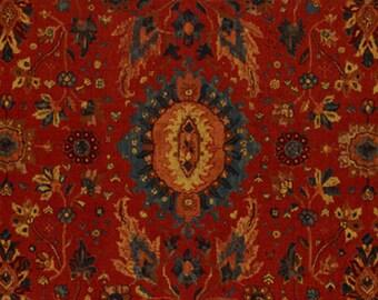 SCHUMACHER PERSIAN CARPET Medallions Linen Fabric 10 Yards Turkish Red Multi