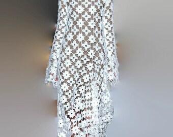 wedding crochet dress, Bo ho clothing,gypsy dress,vintage,gift ideas,summer dress,beach handmade