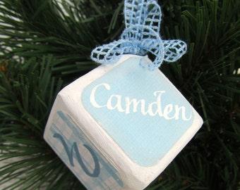 Baby boy block ornament
