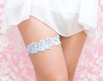 Blue Venise Lace Wedding Garter- Hand dyed