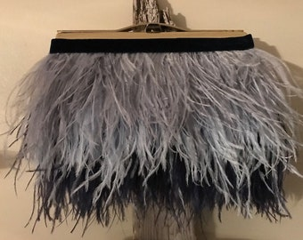 Blue Ombre Ostrich feather Clutch