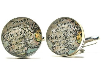 Paris France 1899 Antique Map Cufflinks