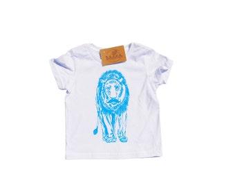 Toddler Boy Clothes - Boys T Shirts - Toddler T Shirts - Toddler Clothes - Blue Kids Tees - Lion with a Mustache - Boys Birthday Gift
