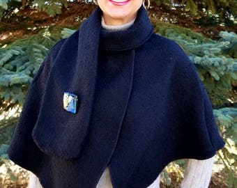 Black Bloucle Poncho Wrap with Scarf