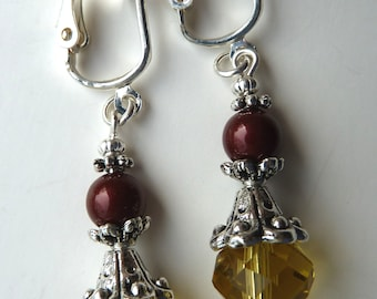 Clip On Earrings, Drop Earrings, Yellow, Burgundy Swarovski Pearls, Petite, Simple, Non Pierced Ears, Dainty, Short