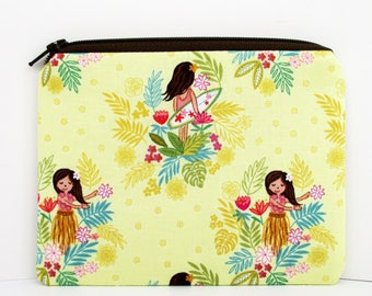 Small Zipper Pouch, Island Girl, Mellow Yellow, Surfer, Hula, Hawaiian Change Purse