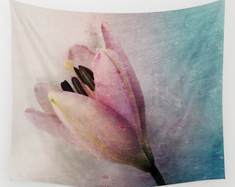 Lily Wall Tapestry, Large Flower Wall Art, Flower, Pink Teal Blue, Dorm, Office, Petals, Modern Decor, Nature, Wedding Gift, Whimsical