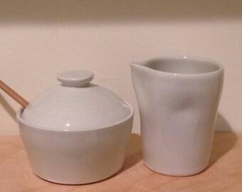 Cream & Sugar Set - Very Pale Celadon Green- MADE TO ORDER