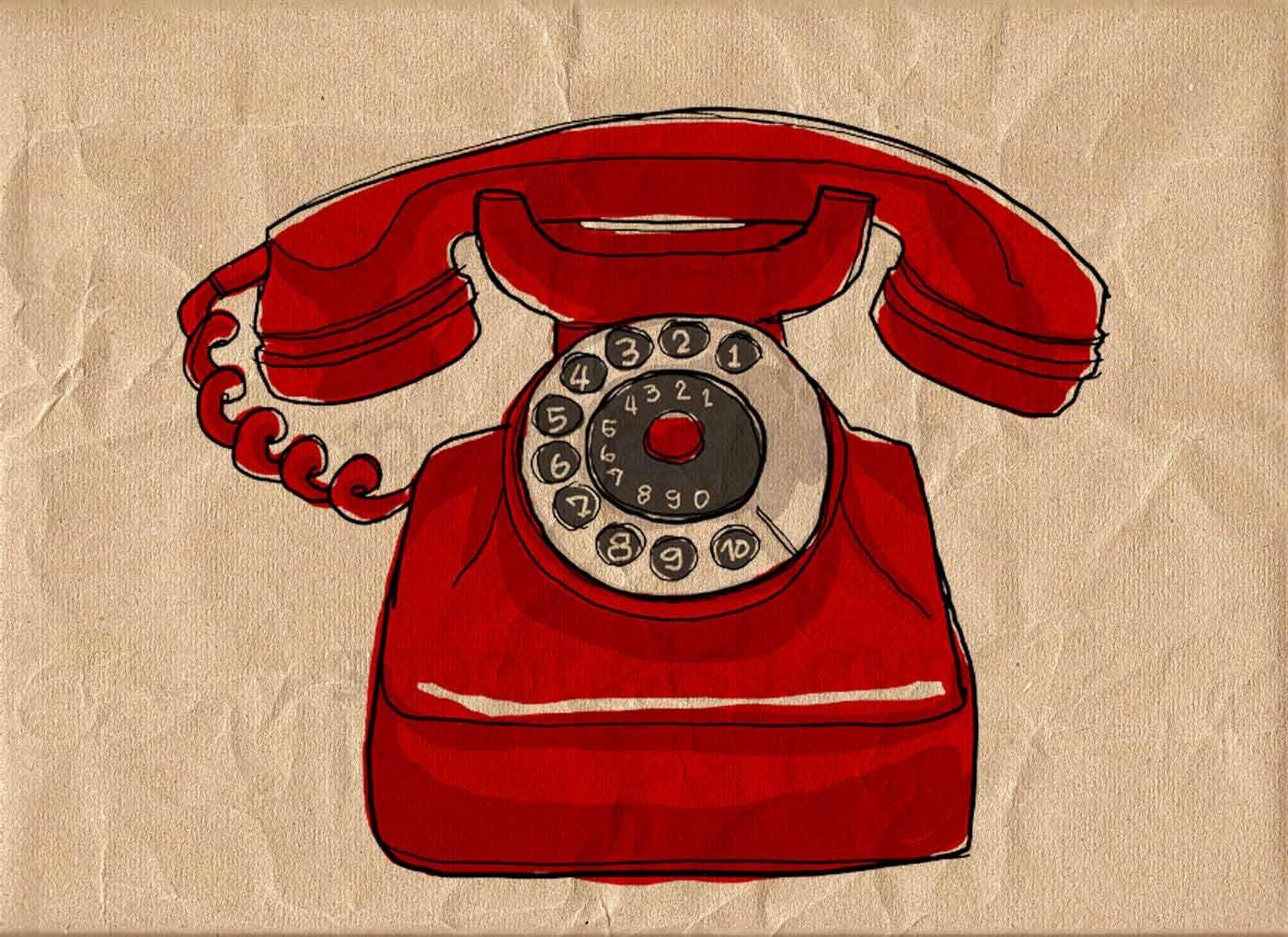 Old Red Telephone Digital Image Sheet Original Illustrate