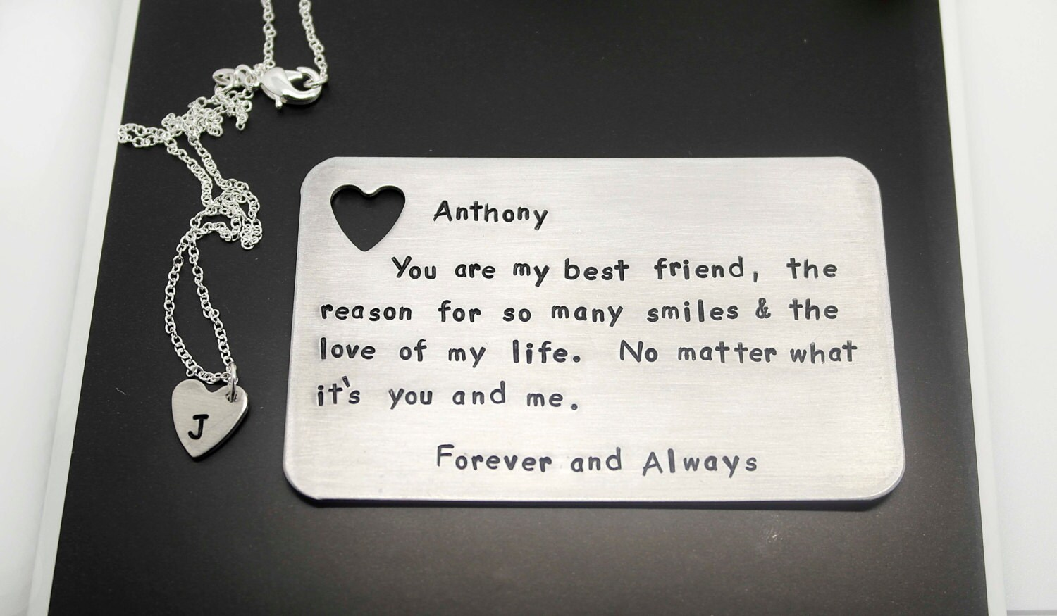 Custom Wallet Insert Card With Heart Necklace Sterling Silver