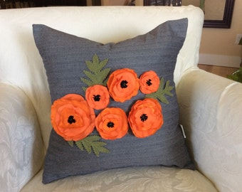 Orange Poppy Pillow Cover, Flower Pillow,Piped Pillow, Blue gray Pillow, Herringbone Pillow, Wedding Accent Pillow, Decorative Pillow, Sofa
