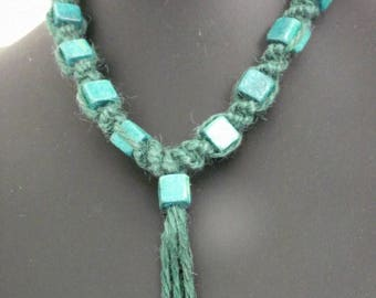Green tree Choker or necklace stretchable adjustable macrame NECKLACE