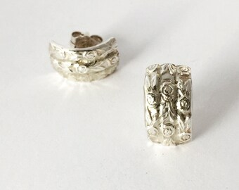 English Rose art deco earrings domed sterling silver 925 studs antique design feminine handmade Australia jewellery Jules Read