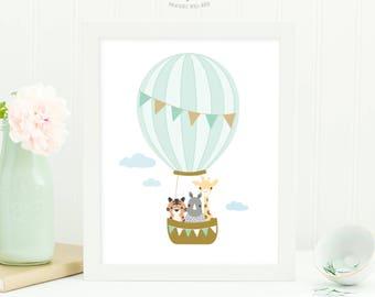 Hot Air Balloon Nursery Wall Art, Animal Nursery Art, Baby Boy Nursery Decor, Printable Art, Nursery Print, Digital Download Art, Baby Gift