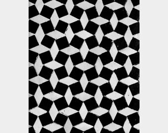 Graphic Pattern, Bold Print, Black and White Modern Art, Moroccan Tile Photo, Optical Illusion Art, Bahia Palace Photo, Mosaic Tile Art